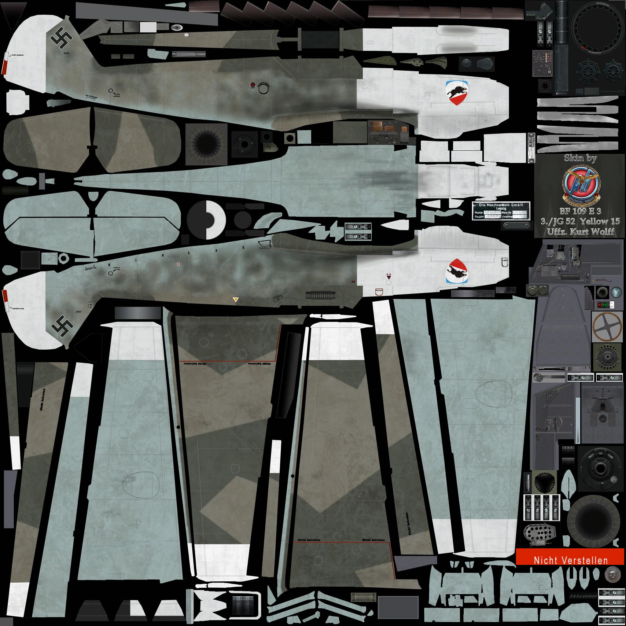 COD ES Bf 109E3 3.JG52 Y15 Kurt Wolff France 1940 NC