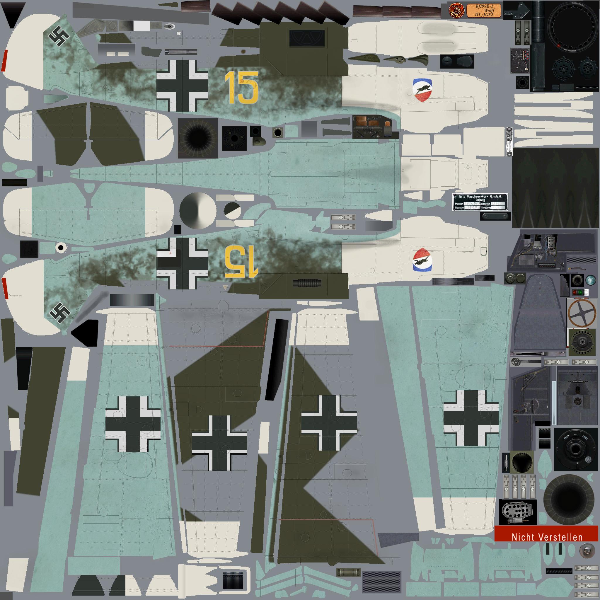 COD EZ Bf 109E3 3.JG52 Y15 Kurt Wolff France 1940