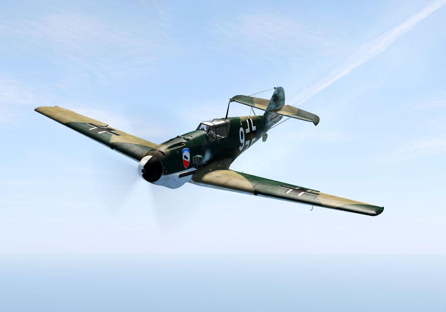 COD OD Bf 109E1 1.JG52 W9 Herbert Bischoff going down 1940 V01