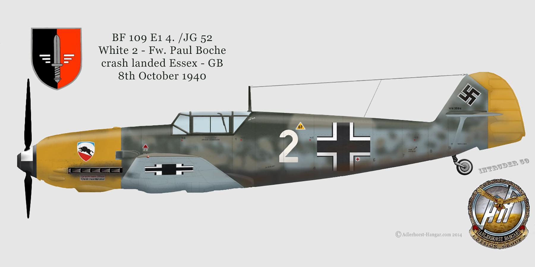 Messerschmitt Bf 109E1 1.JG52 White 2 Paul Boche crash landed Essex 8th Oct 1940 0A