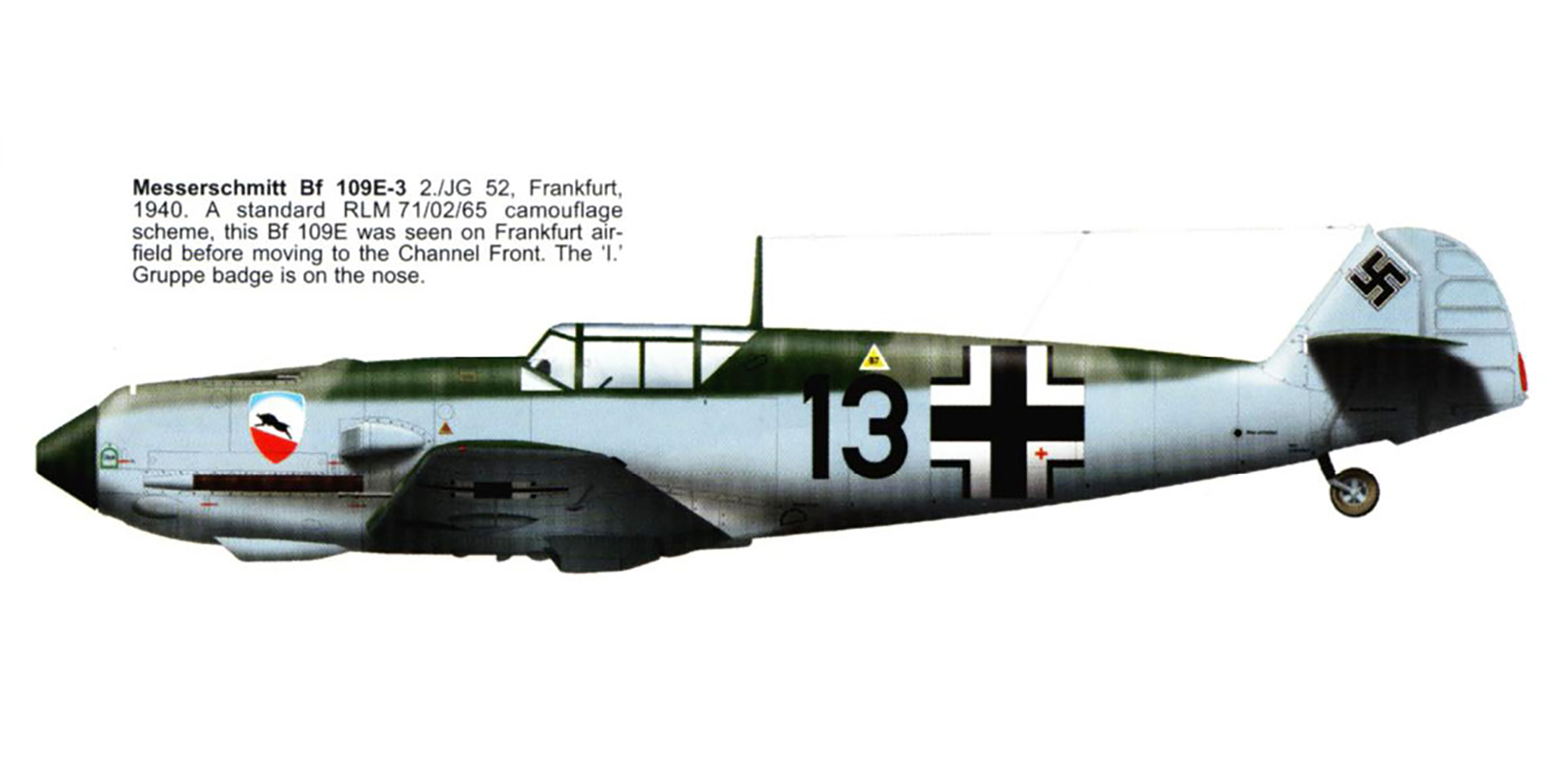 Messerschmitt Bf 109E3 2.JG52 Black 13 Frankfurt Germany 1940 0B