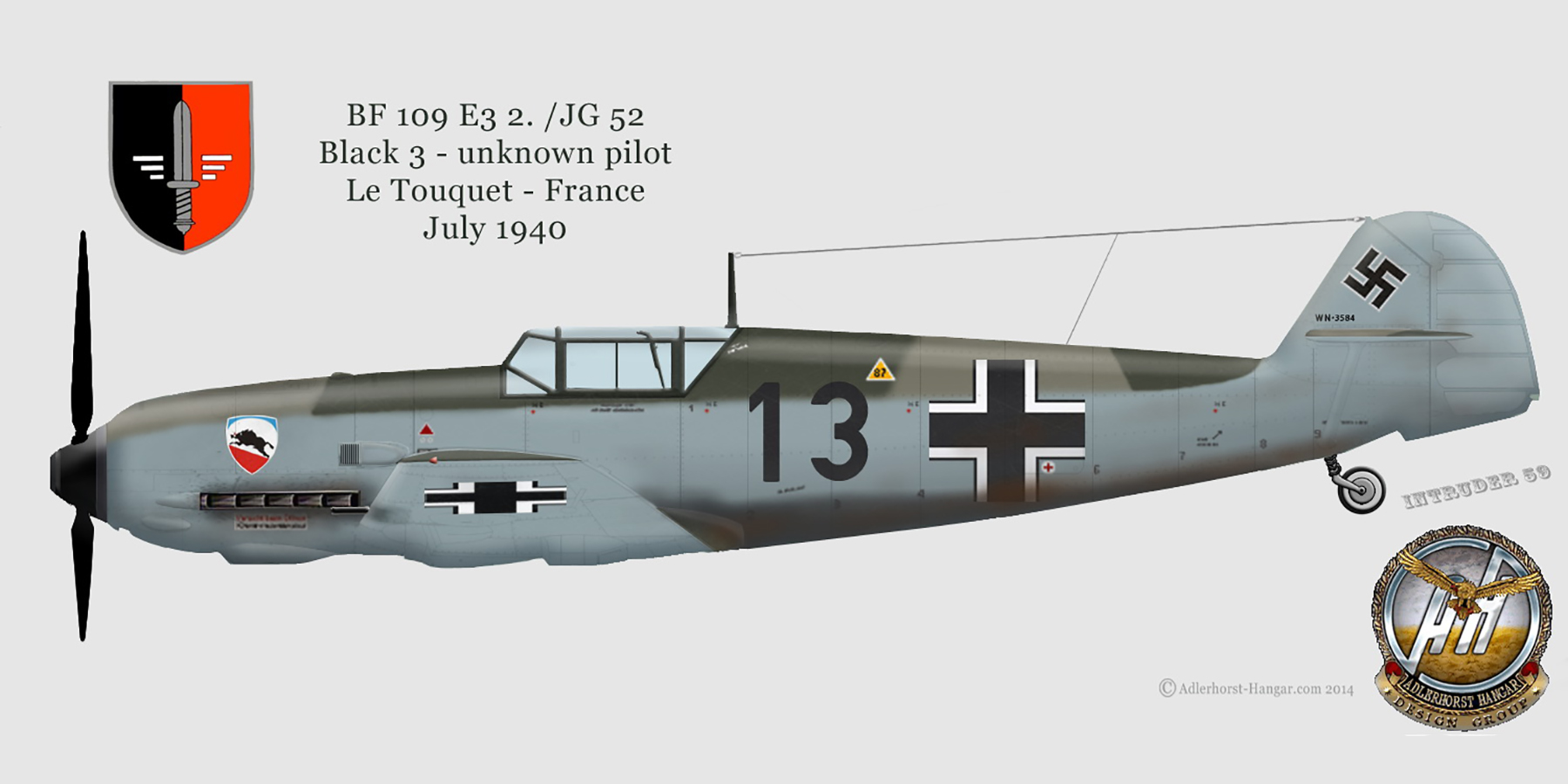 Messerschmitt Bf 109E3 2.JG52 Black 13 unknown pilot Le Touquet France June 1940 0A