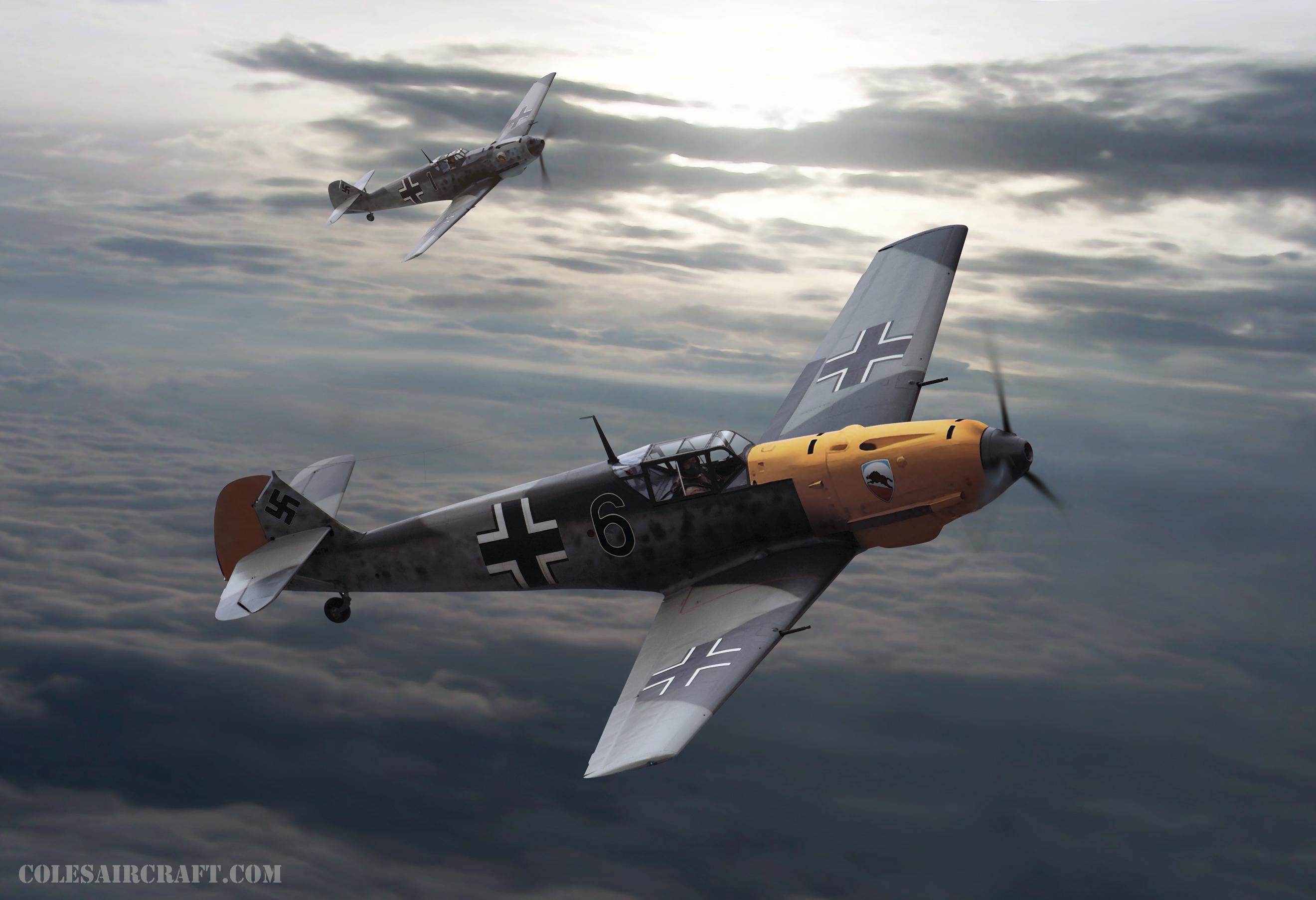 Messerschmitt Bf 109E3 2.JG52 Black 6 artwork by Colesaircraft.com 0A