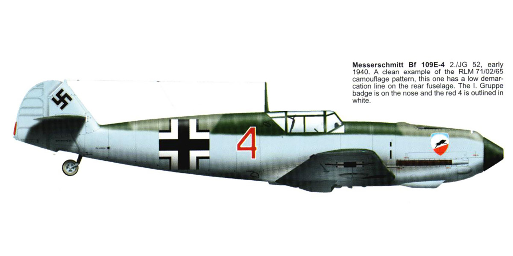 Messerschmitt Bf 109E3 2.JG52 Red 4 Battle of Briatin 1940 0A