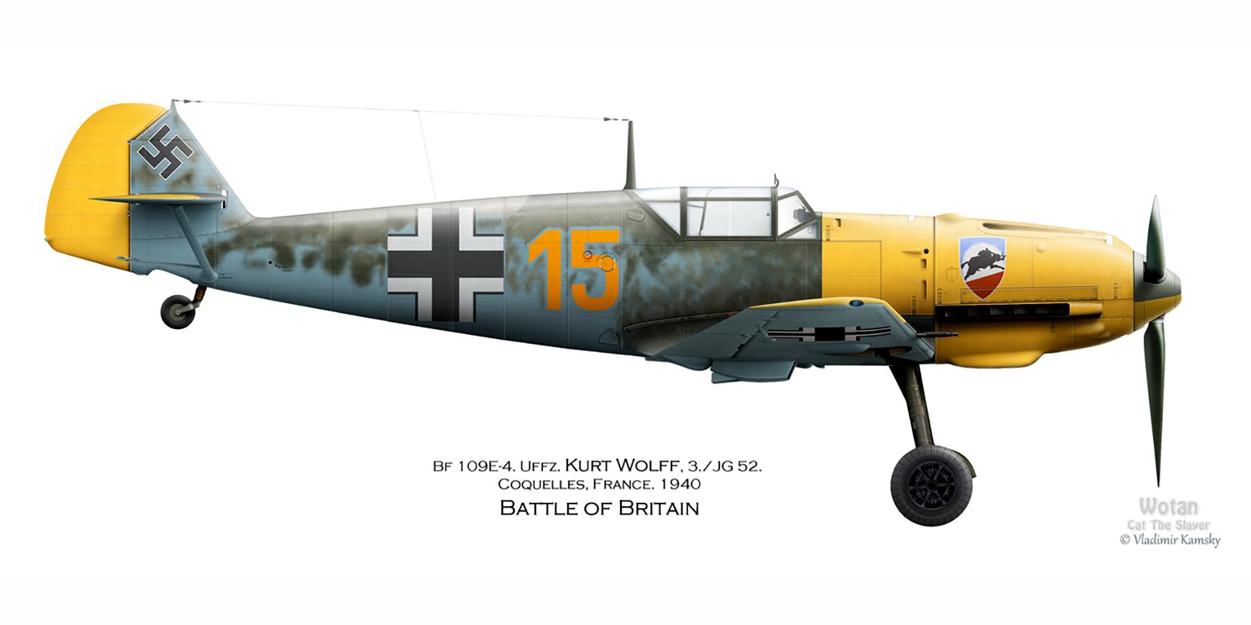Messerschmitt Bf 109E3 3.JG52 Yellow 15 Kurt Coquelles France Sep 1940 0A