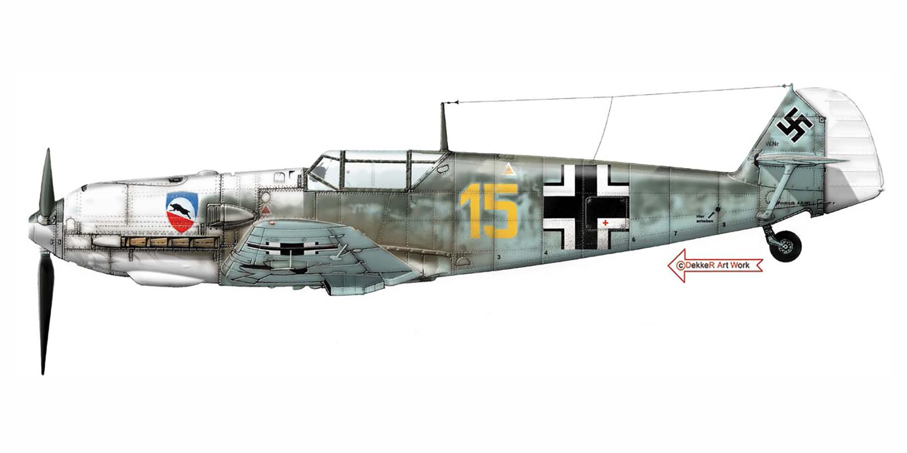 Messerschmitt Bf 109E3 3.JG52 Yellow 15 Kurt Wolff crash landed France 30th Aug 1940 0B