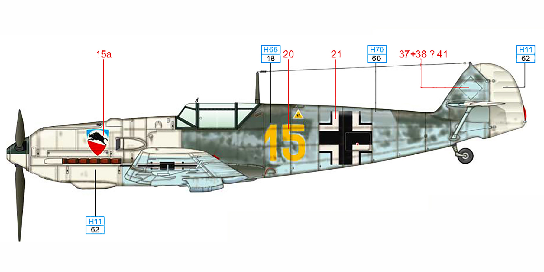 Messerschmitt Bf 109E3 3.JG52 Yellow 15 Kurt Wolff crash landed France 30th Aug 1940 0D