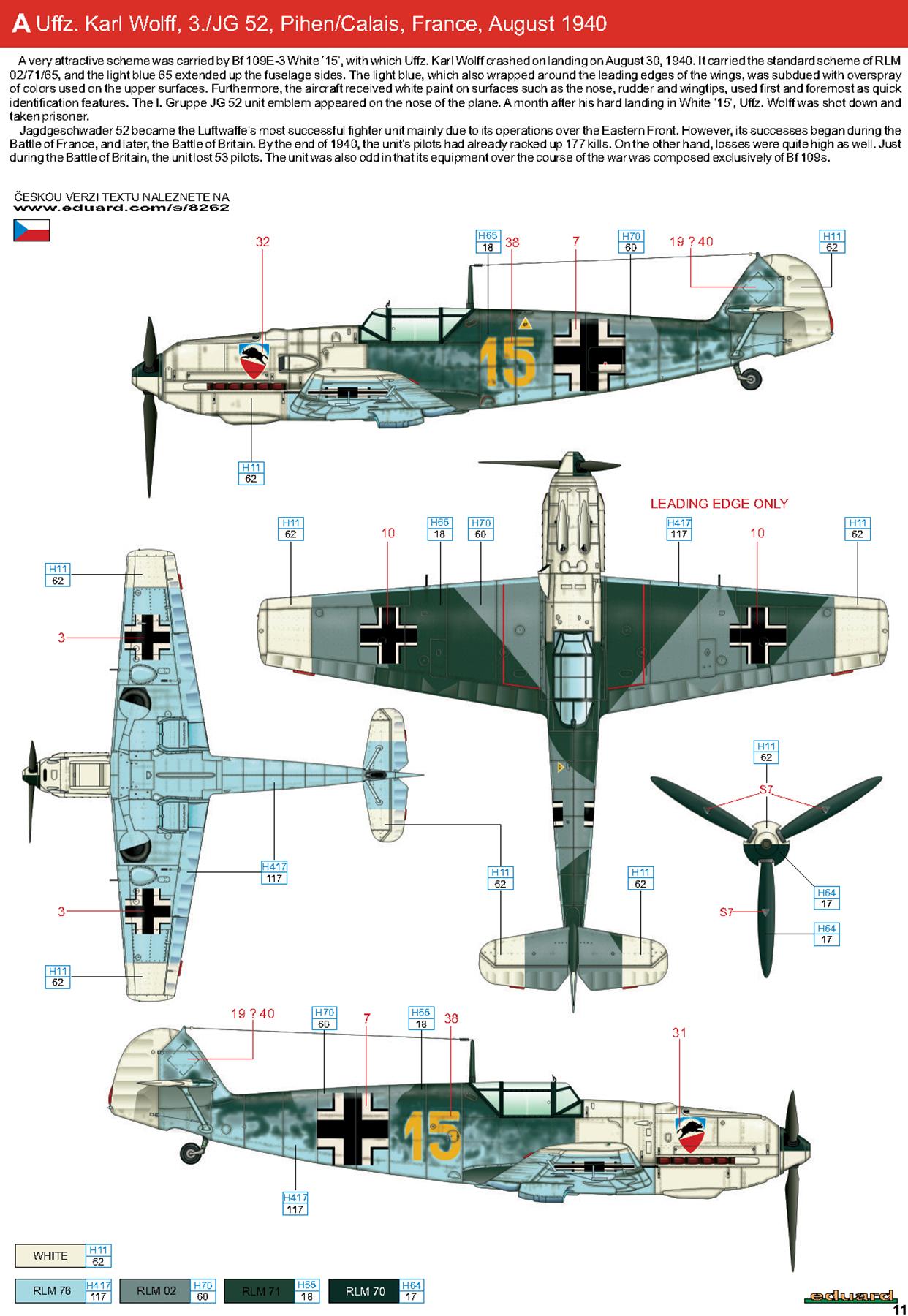 Messerschmitt Bf 109E3 3.JG52 Yellow 15 Kurt Wolff crash landed France 30th Aug 1940 0E