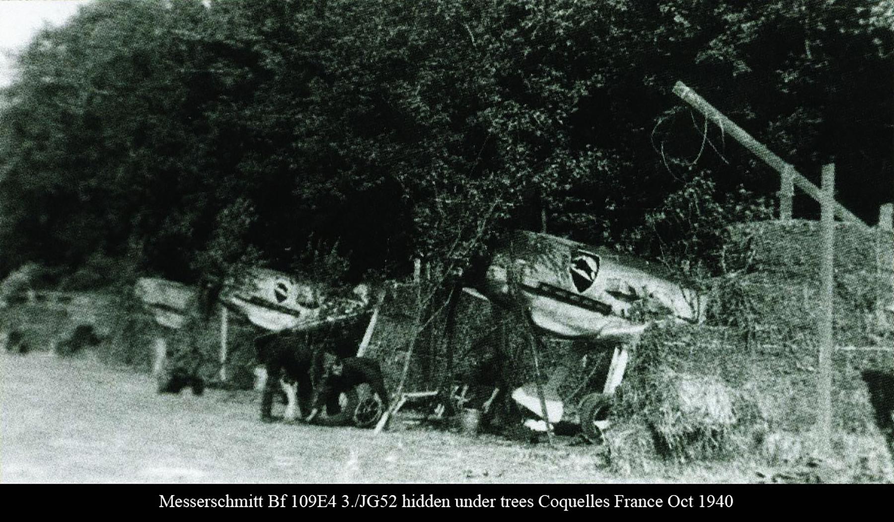 Messerschmitts Bf 109E4 3.JG52 hidden under trees Coquelles France Oct 1940 01