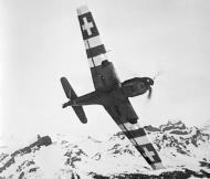 Asisbiz Messerschmitt Bf 109E3 Swiss showing the late war underneath camouflage markings Switzerland 01