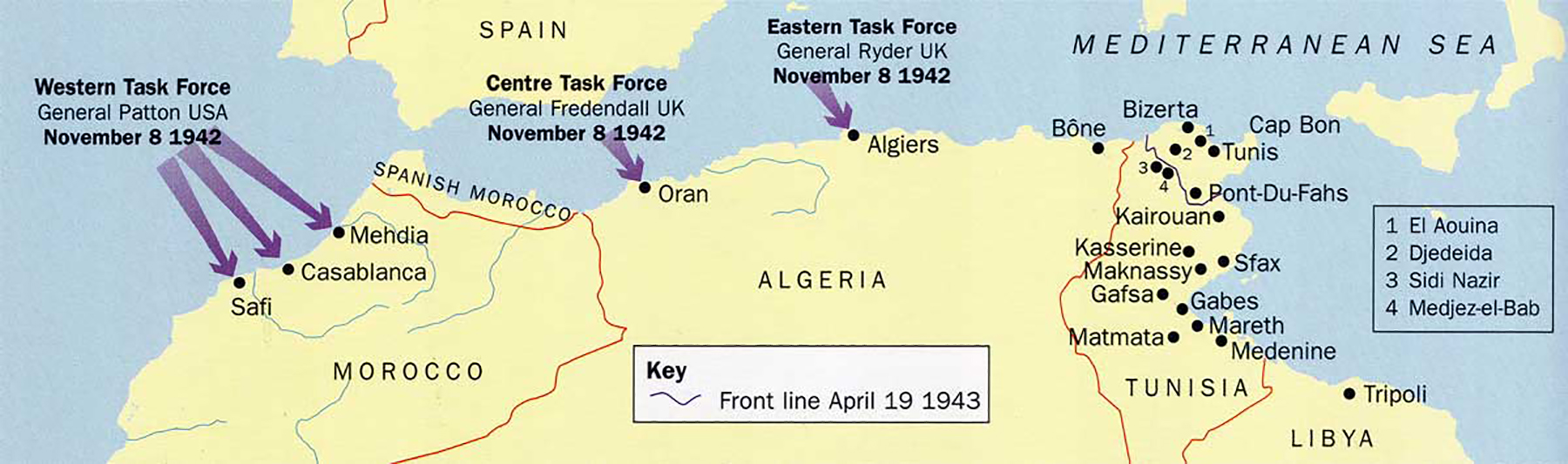 Artwork showing a map of North Africa Operation Torch 0A