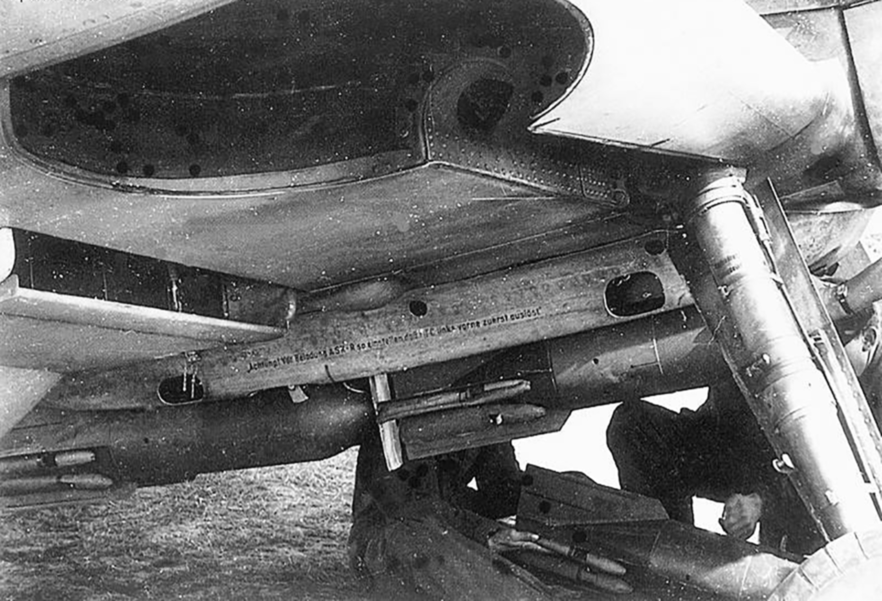 Messerschmitt Bf 109F4B loaded with four SC50J bombs close up view of the bomb rack 02