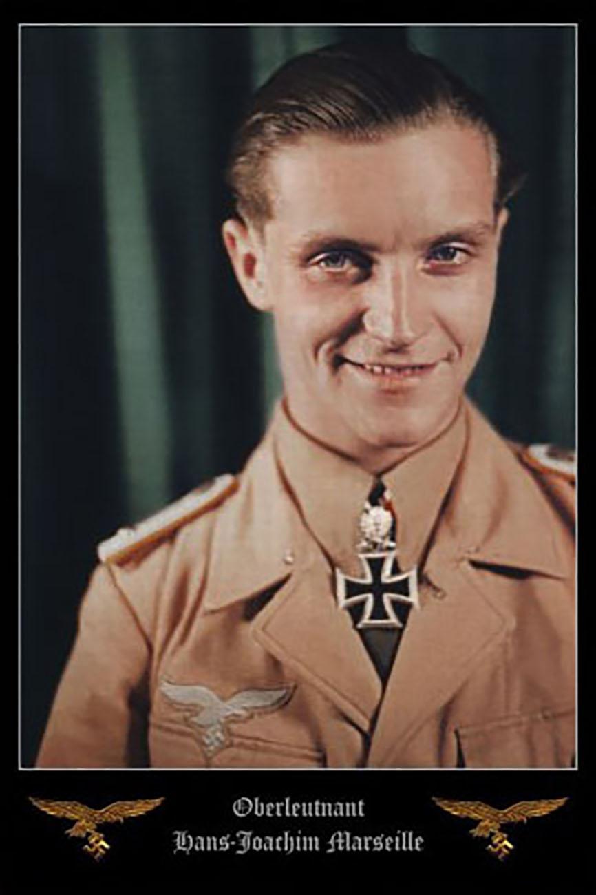 Aircrew Luftwaffe JG27 ace Hans Joachim Marseille color portrait photo 01