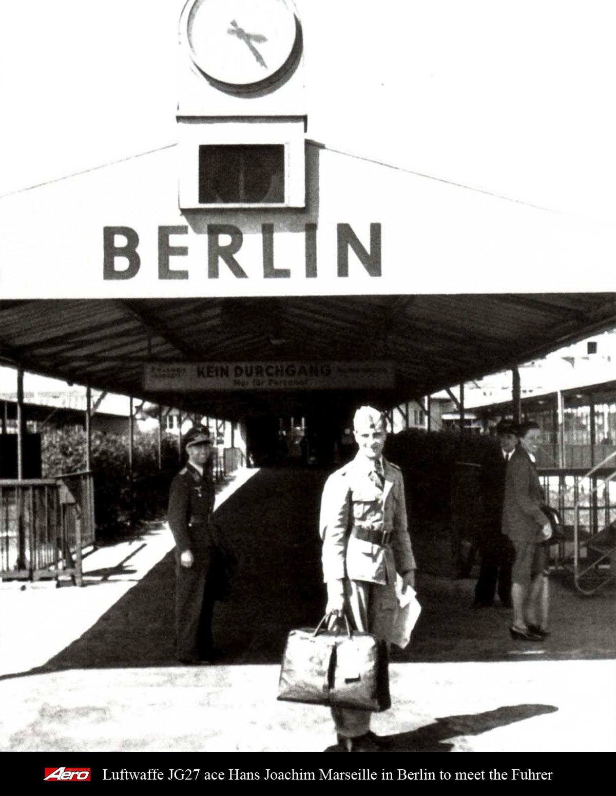 Aircrew Luftwaffe JG27 ace Hans Joachim Marseille in Berlin to meet the Fuhrer