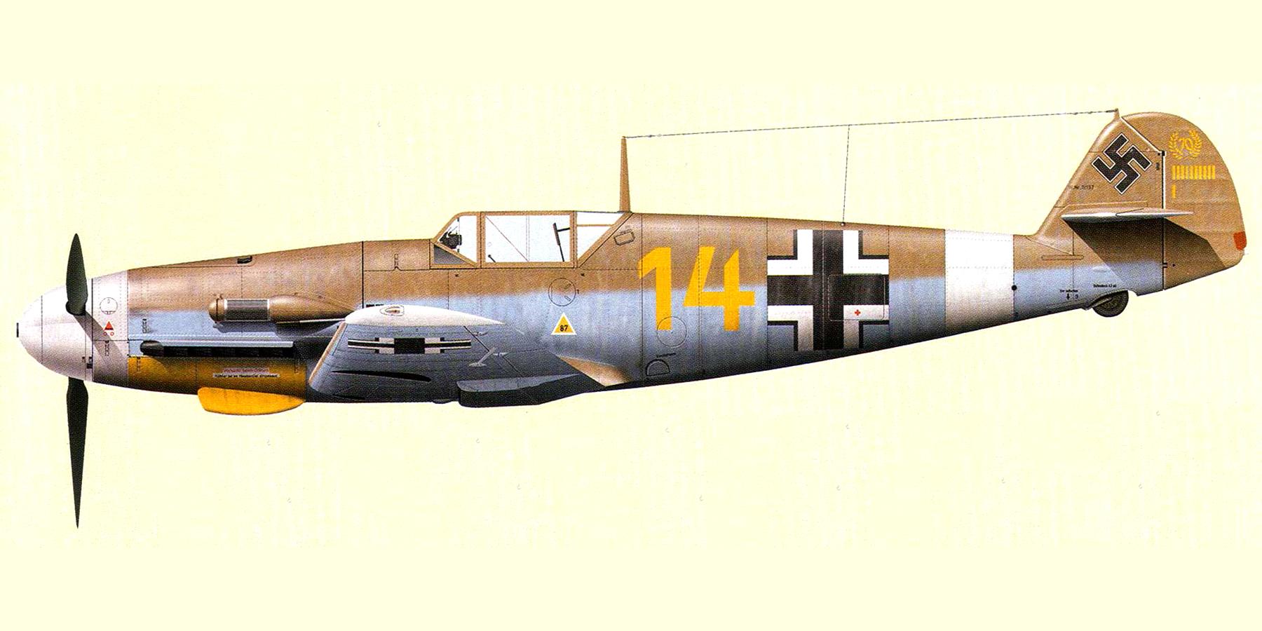 Messerschmitt Bf 109F4Trop 3.JG27 Yellow 14 Hans Joachim Marseille WNr 10137 Africa 21st June 1942 0A