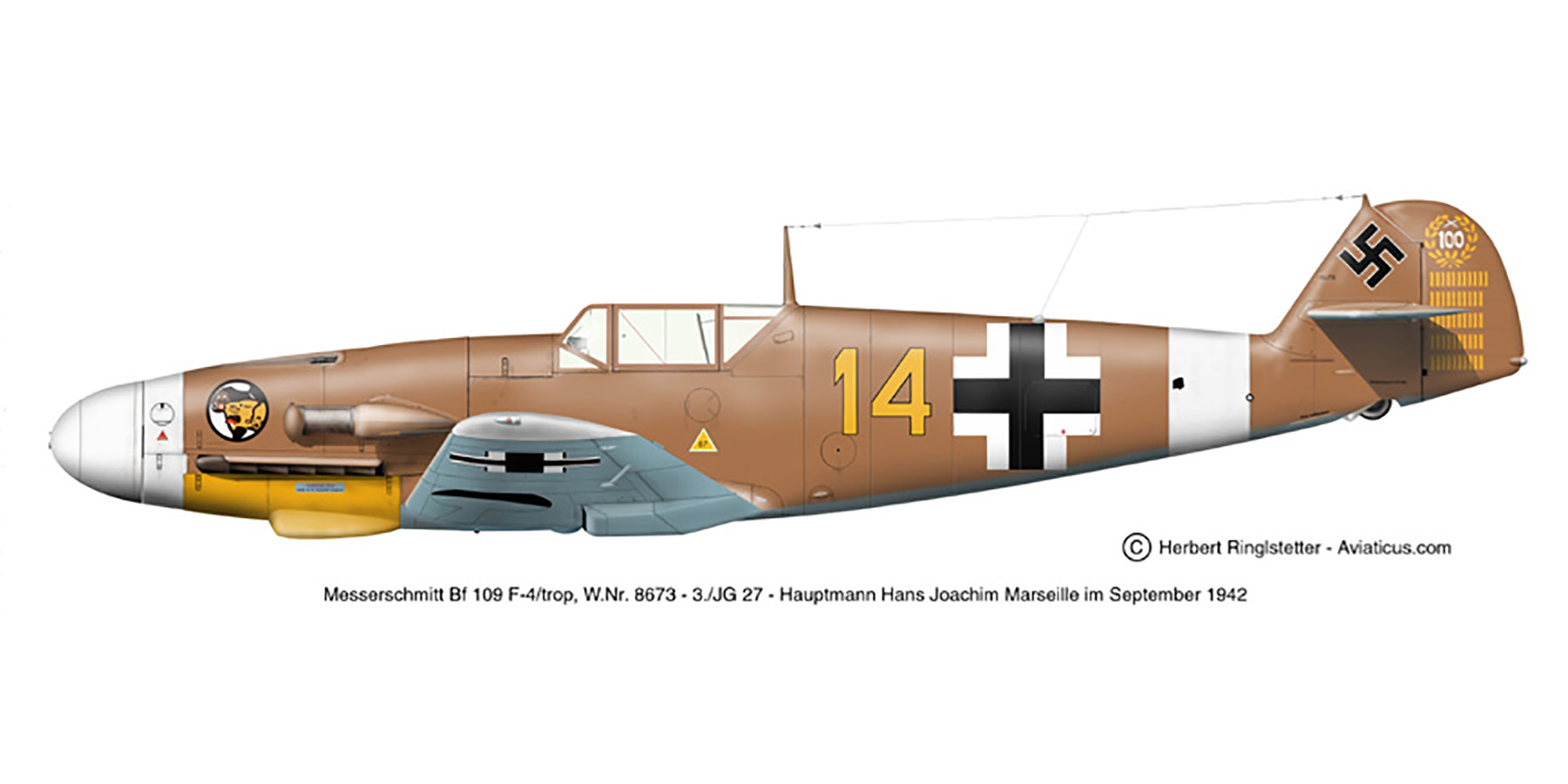 Messerschmitt Bf 109F4Trop 3.JG27 Yellow 14 Hans Joachim Marseille WNr 8673 Africa 21st Sep 1942 0A