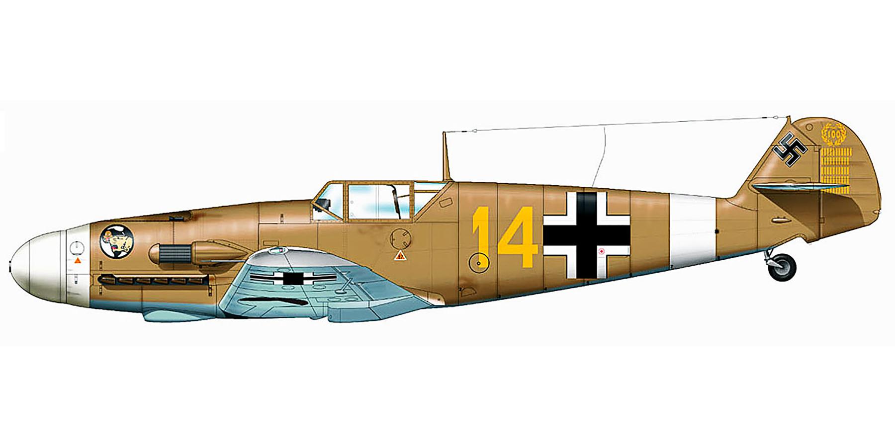 Messerschmitt Bf 109F4Trop 3.JG27 Yellow 14 Hans Joachim Marseille WNr 8673 Africa 21st Sep 1942 0B