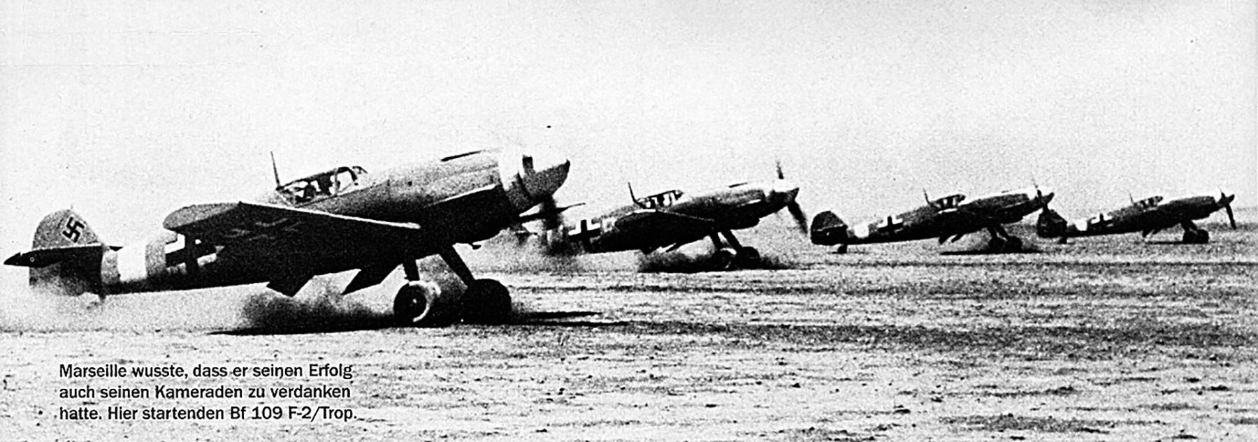 Messerschmitt Bf 109F4Trop 3.JG27 Yellow 14 Hans Joachim Marseille taking off Martuba 1942 01