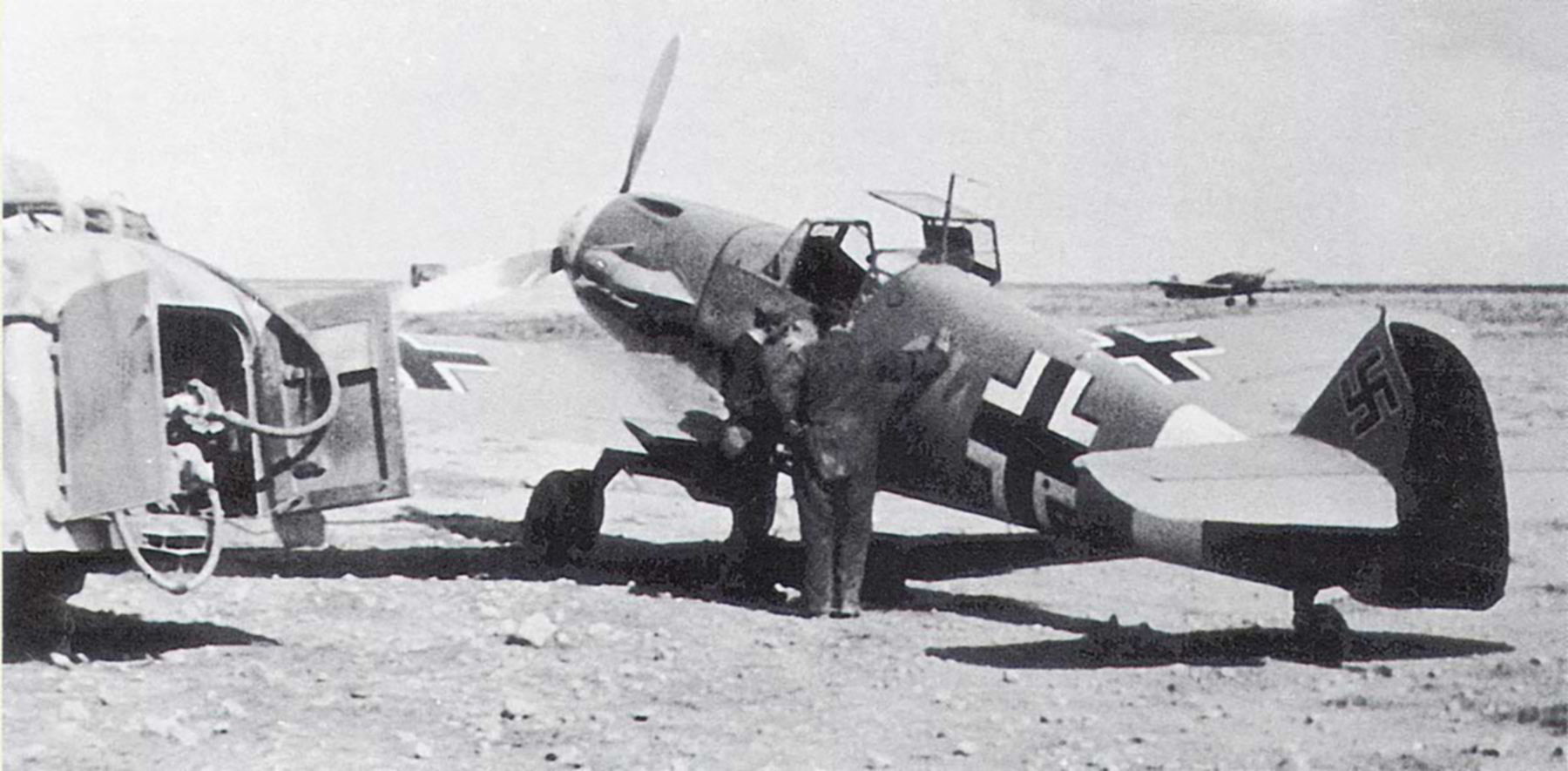 Messerschmitt Bf 109F4Trop Stab III.JG27 Yellow 14 Hans Joachim Marseille WNr 8693 Martuba Feb 1942 02