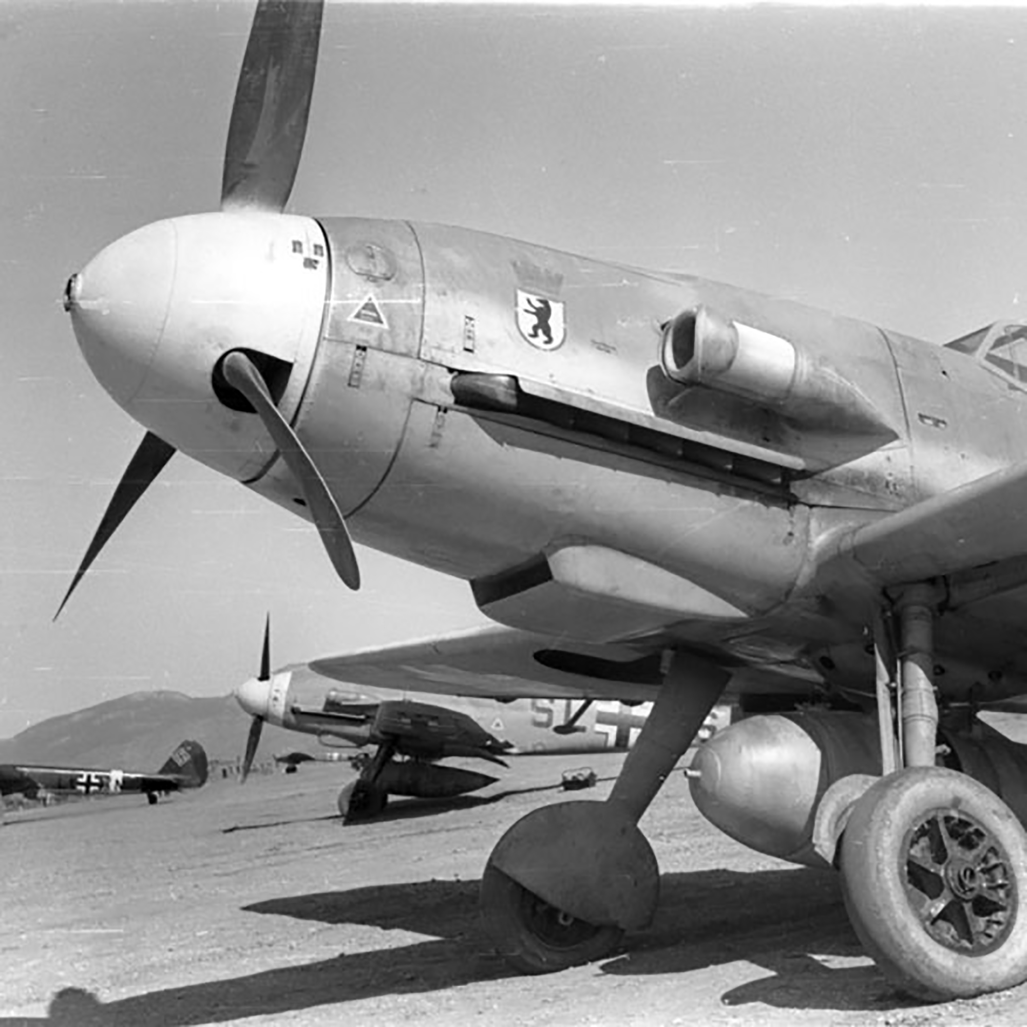 A newly transfered batch of aircraft belonging to II.JG27 stands ready Sicily 01