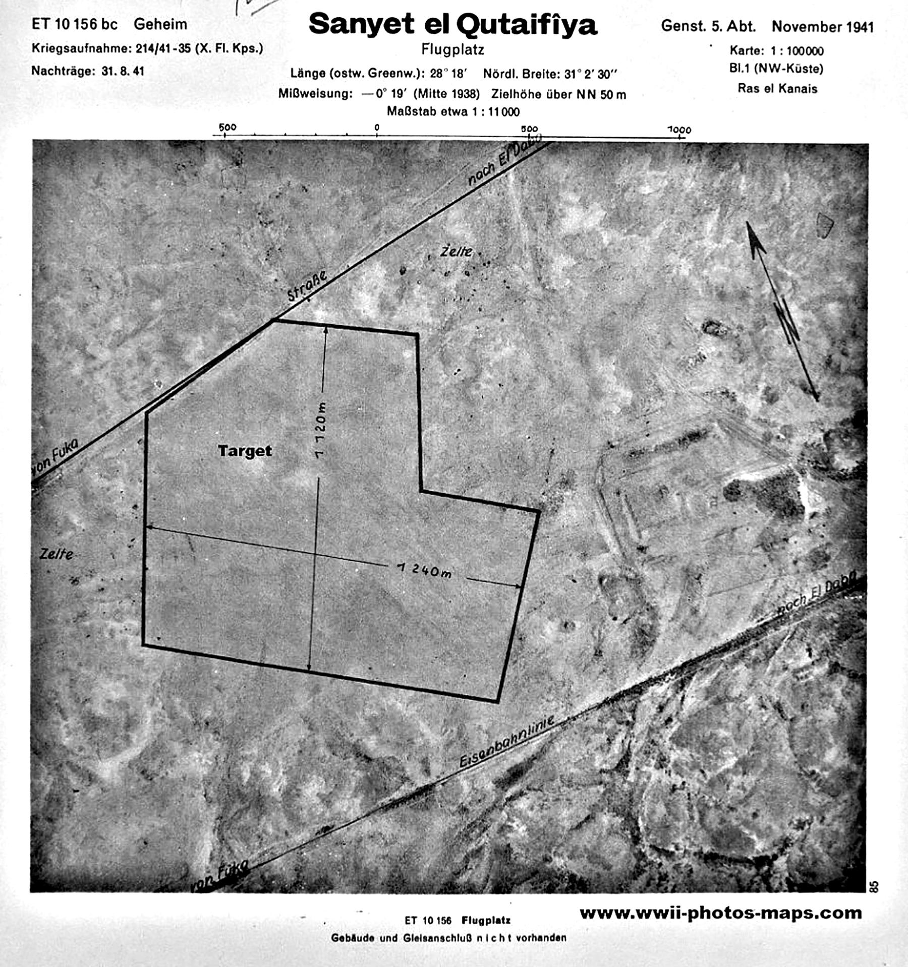 Aerial photo showing WWII aerodrome at Sanyet el Qutaifiya Flugplatz 1941 01