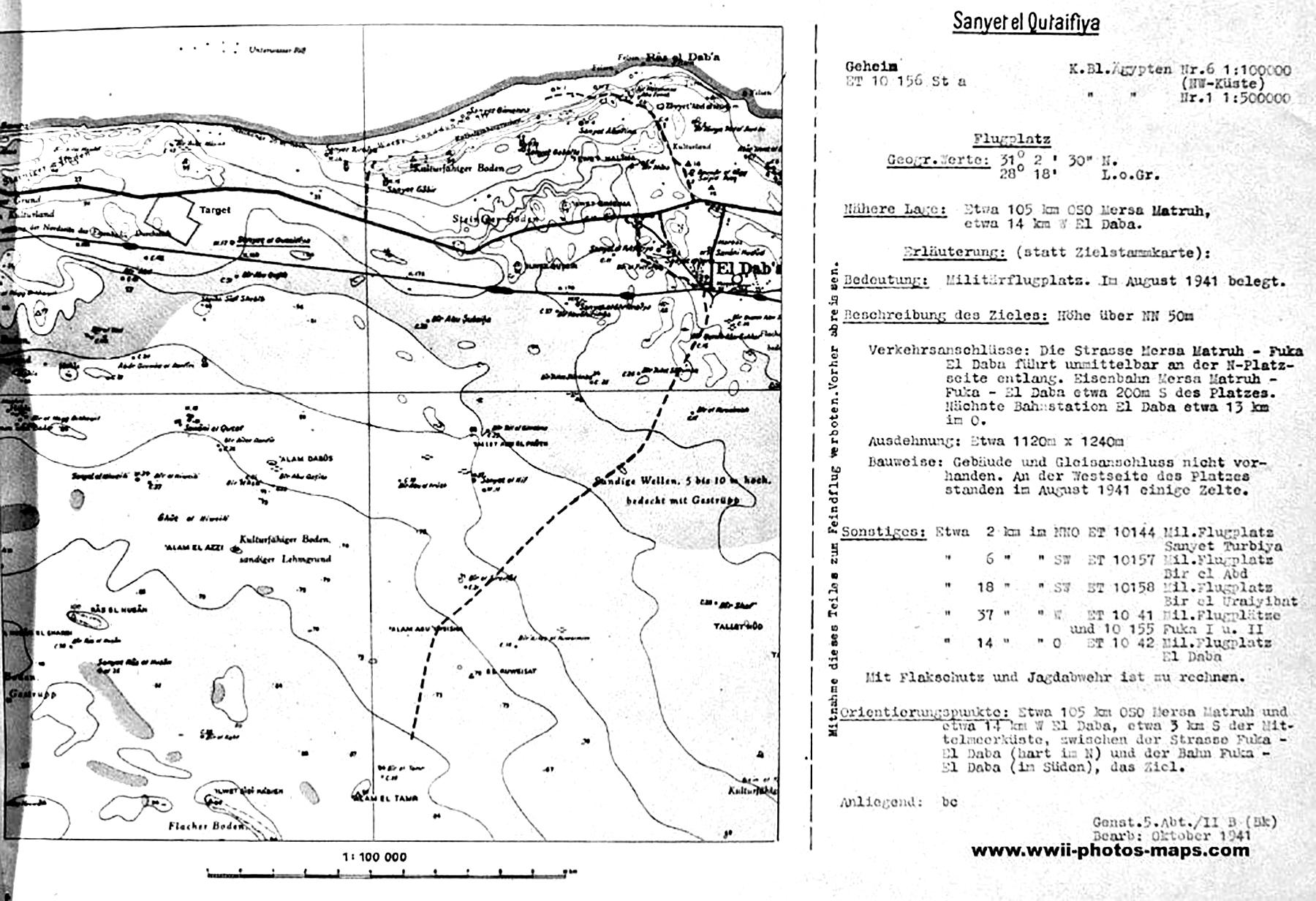 Artwork showing a map of the WWII aerodrome at Sanyet el Qutaifiya Flugplatz 1941 01