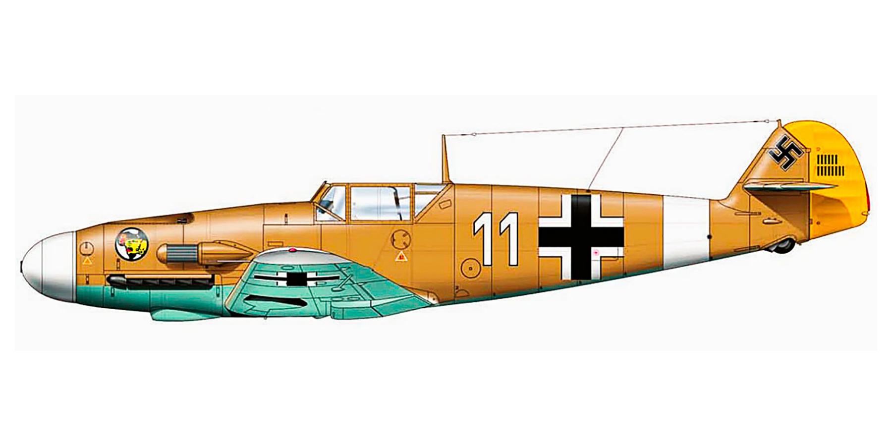 Messerschmitt Bf 109F4Trop 1.JG27 White 11 Albert Espenlaub El Adem Dec 1941 0A