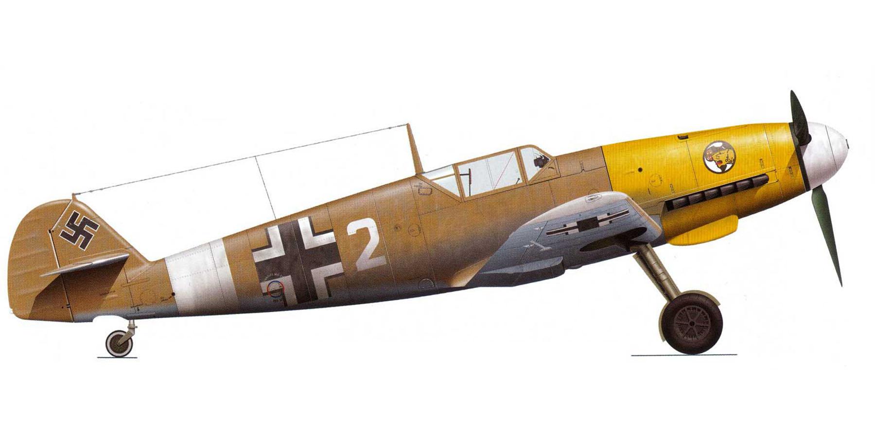 Messerschmitt Bf 109F4Trop 1.JG27 White 2 North Africa 1942 0A