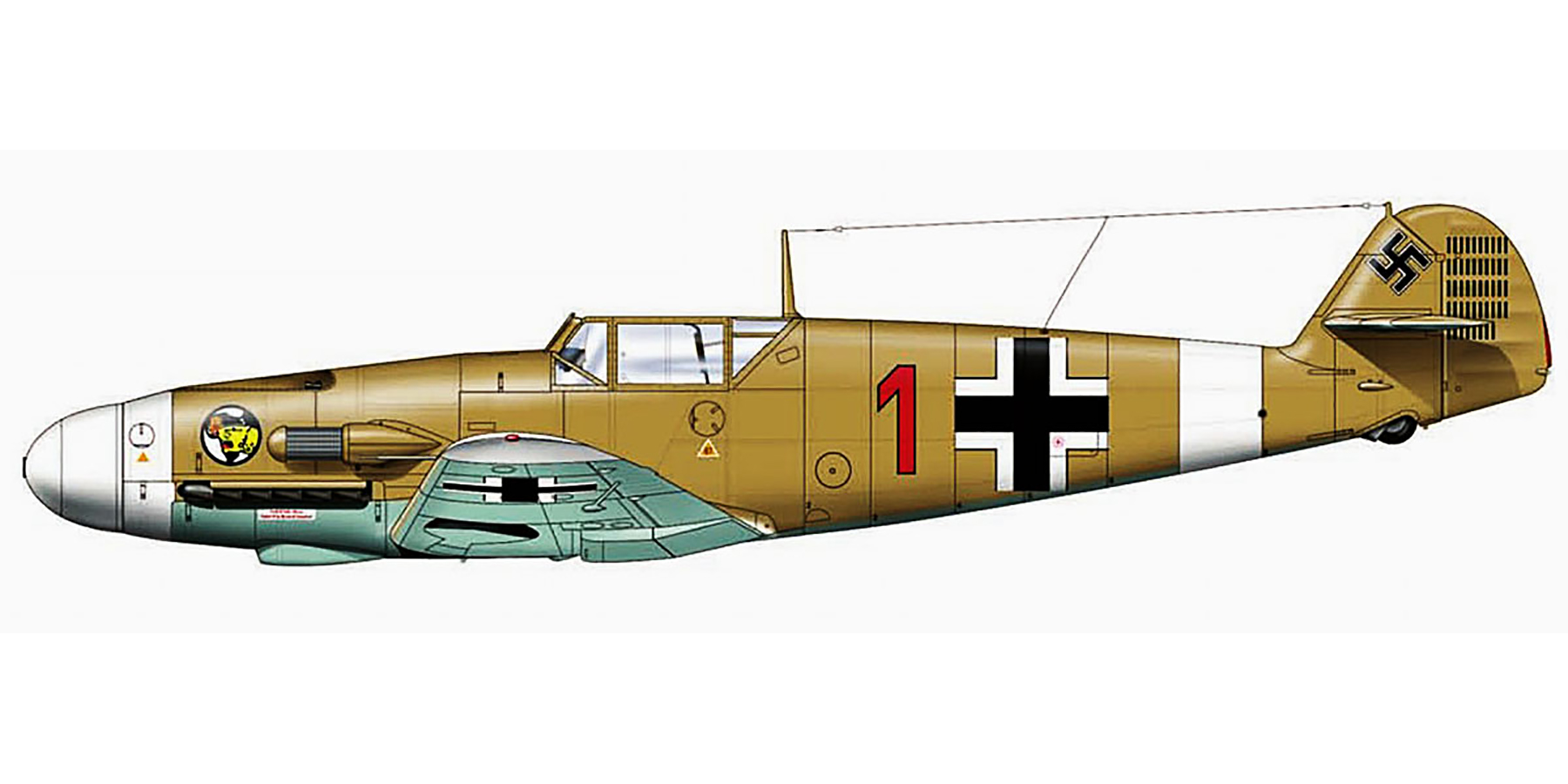 Messerschmitt Bf 109F4Trop 2.JG27 Red 1 Hans Arnold Stahlschmidt Qutaifiya Egypt Aug 1942 0A