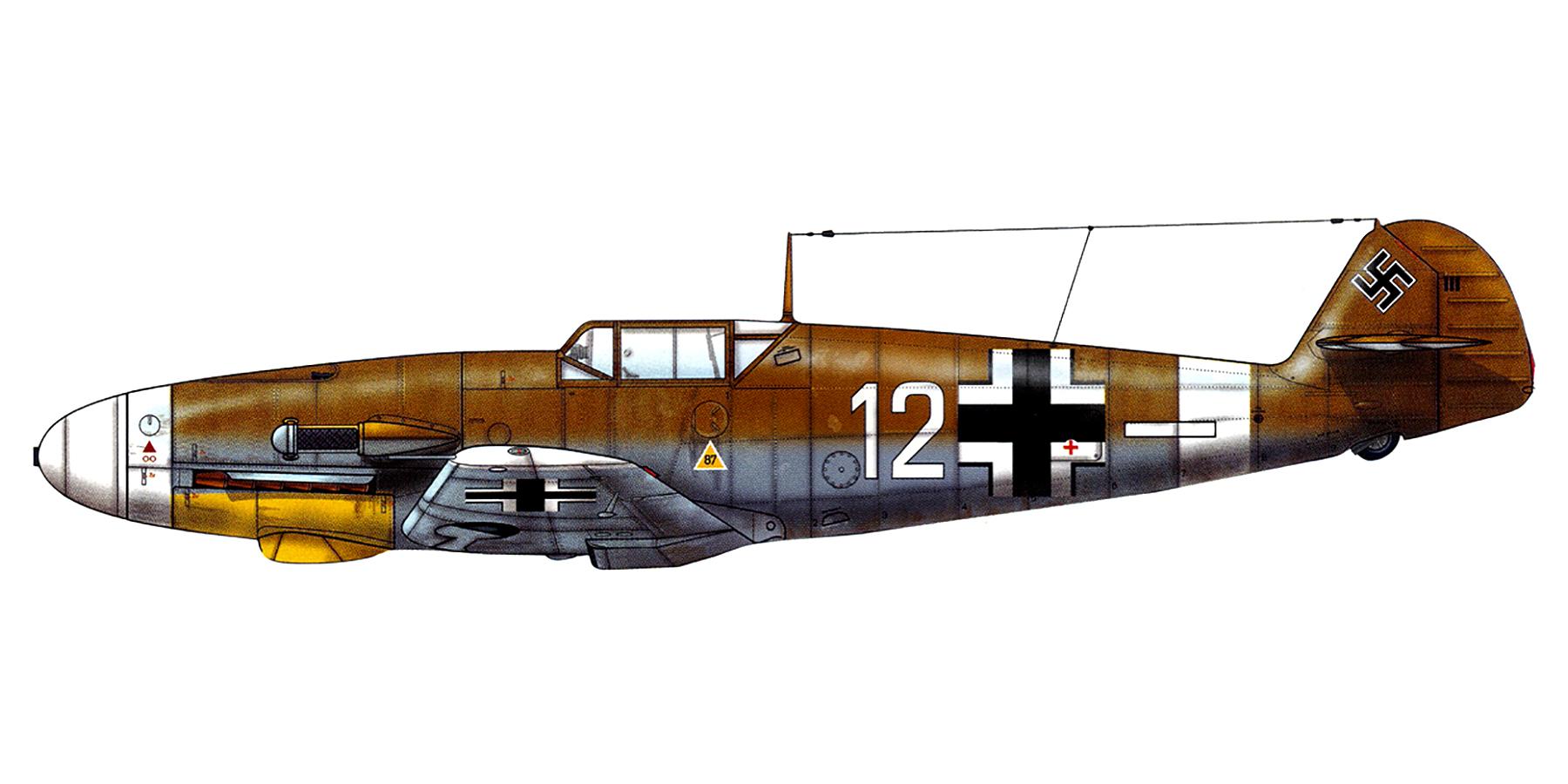 Messerschmitt Bf 109F4Trop 4.JG27 White 12 Franz Stigler Libya 1942 0A