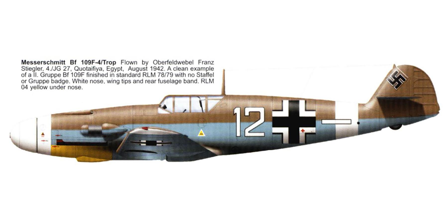 Messerschmitt Bf 109F4Trop 4.JG27 White 12 Franz Stigler Libya 1942 0B