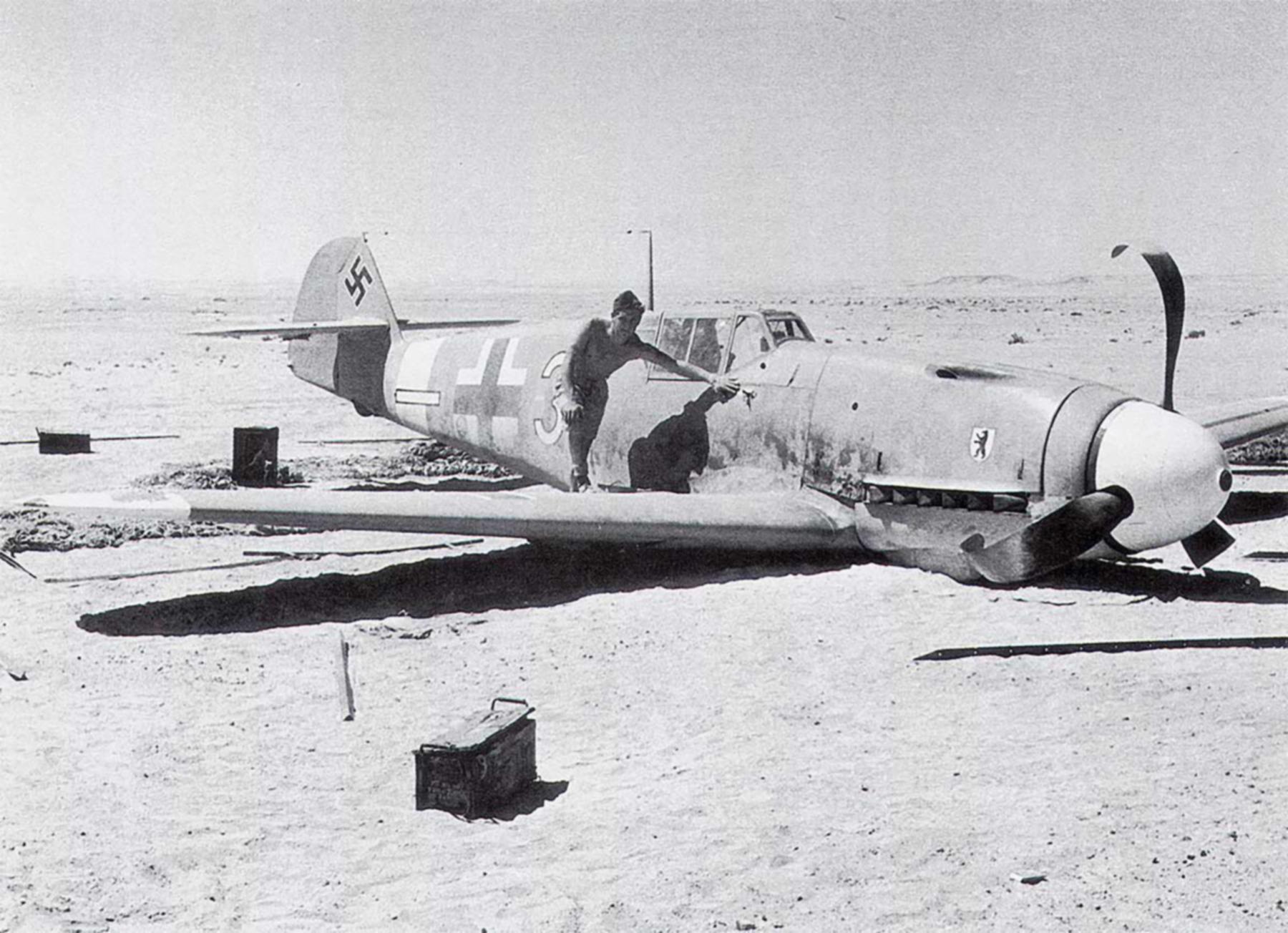 Messerschmitt Bf 109F4Trop 4.JG27 White 3 Alfred Krumlauf WNr 8635 FL 15km SW El Hammam 20th Sep 1942 01