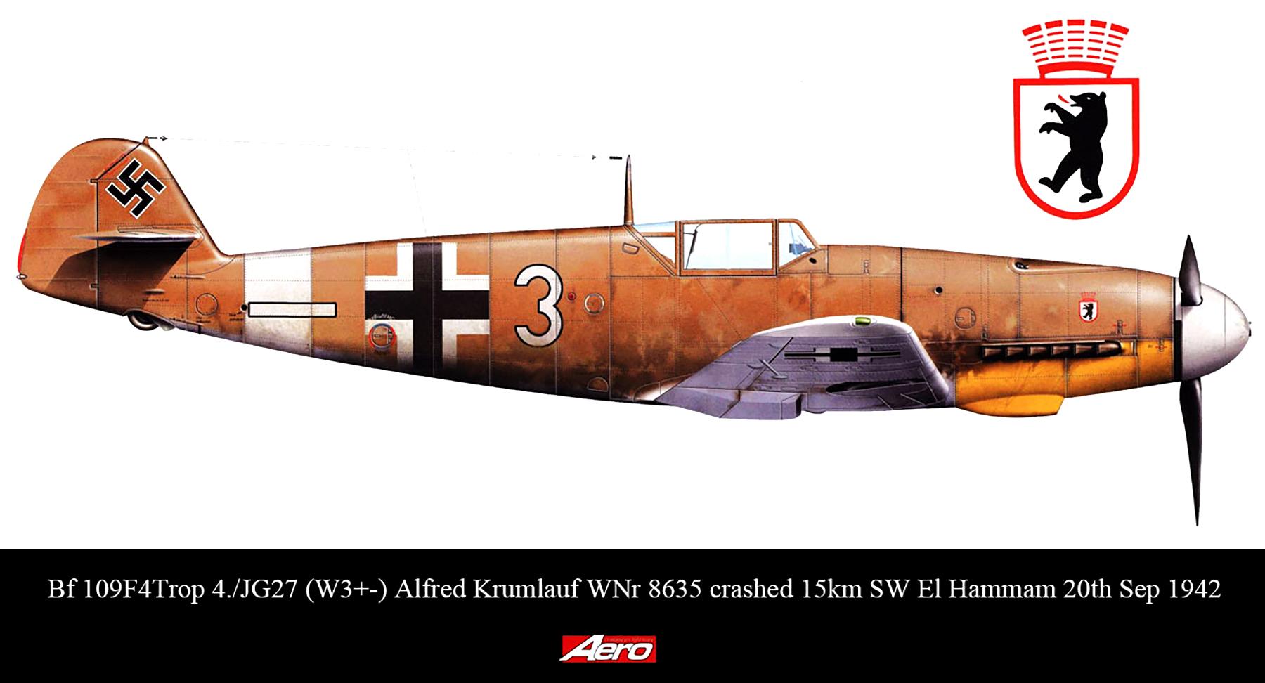 Messerschmitt Bf 109F4Trop 4.JG27 White 3 Alfred Krumlauf WNr 8635 FL 15km SW El Hammam 20th Sep 1942 0A