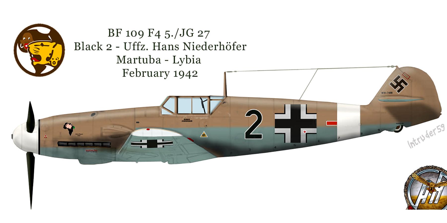 Messerschmitt Bf 109F4Trop 5.JG27 Black 2 Hans Neiderhofer Martuba Lybia Feb 1942 0A