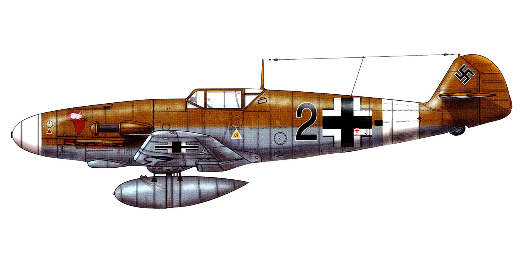 Messerschmitt Bf 109F4Trop 5.JG27 Black 2 Hans Neiderhofer North Africa Dec 1941 0A