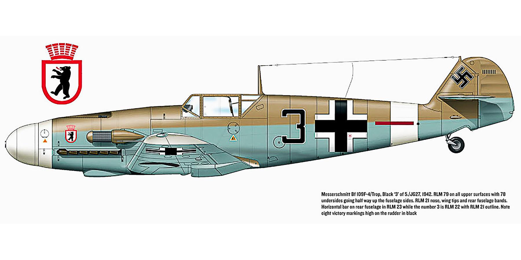 Messerschmitt Bf 109F4Trop 5.JG27 Black 3 Ernst Boerngen WNr 10203 Egypt 1942 0A