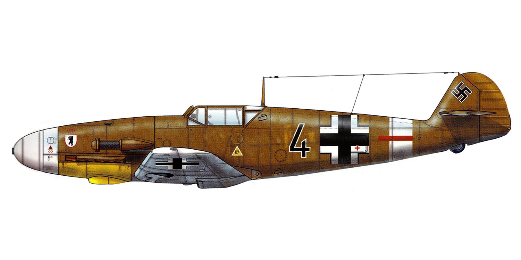 Messerschmitt Bf 109F4Trop 5.JG27 Black 4 Libya 1942 0A