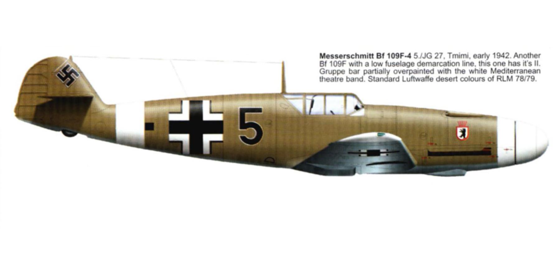 Messerschmitt Bf 109F4Trop 5.JG27 Black 5 Tmimi 1942 0A