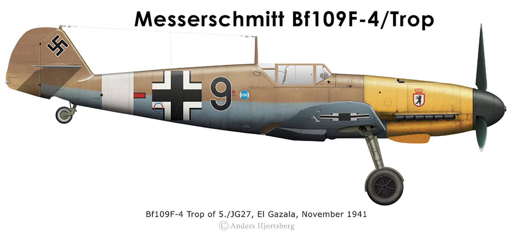 Messerschmitt Bf 109F4Trop 5.JG27 Black 9 El Gazala North Africa Nov 1941 0A
