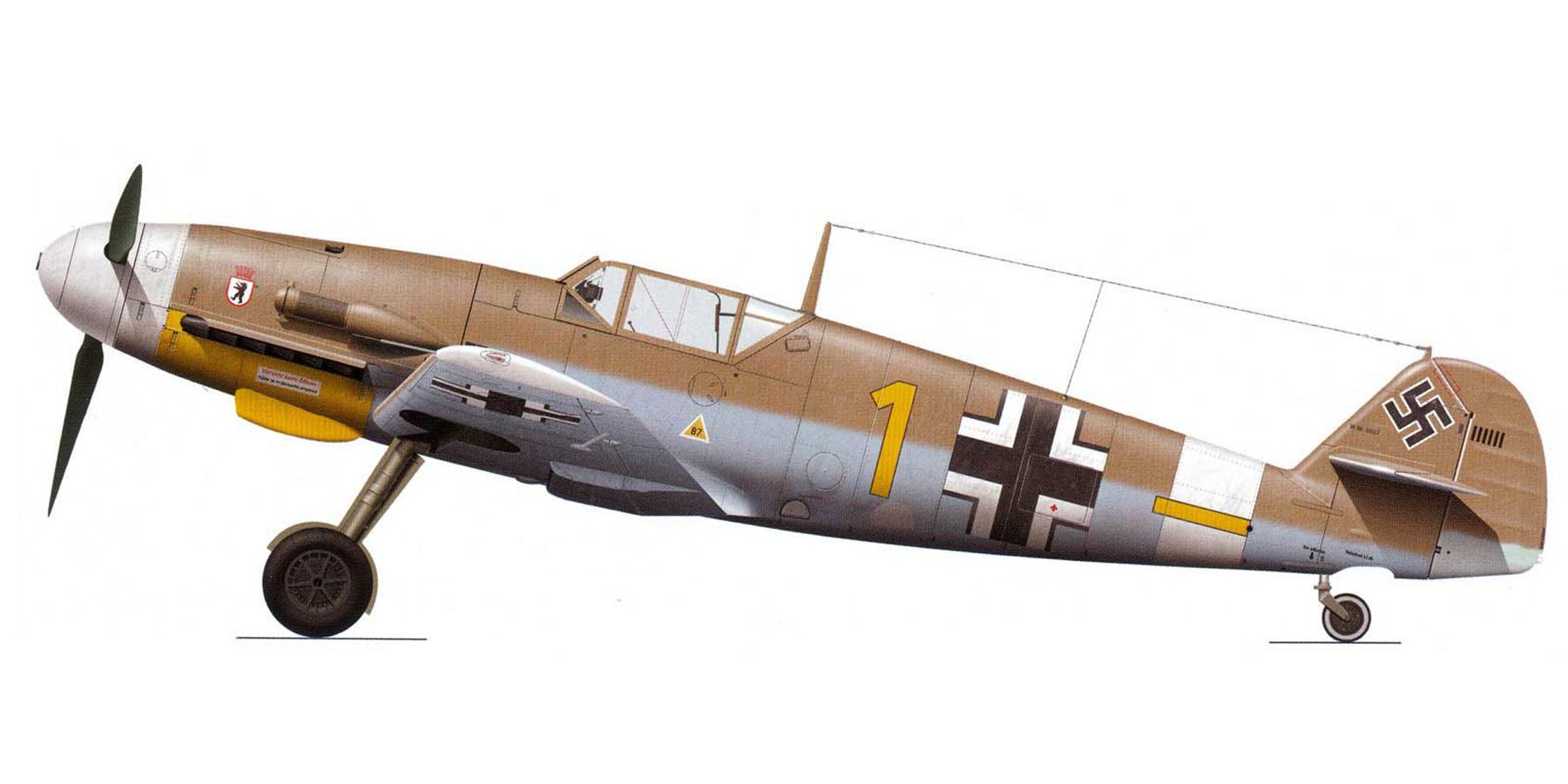 Messerschmitt Bf 109F4Trop 6.JG27 Yellow 1 Rudolf Rudi Sinner Tmimi Jun 1942 0A