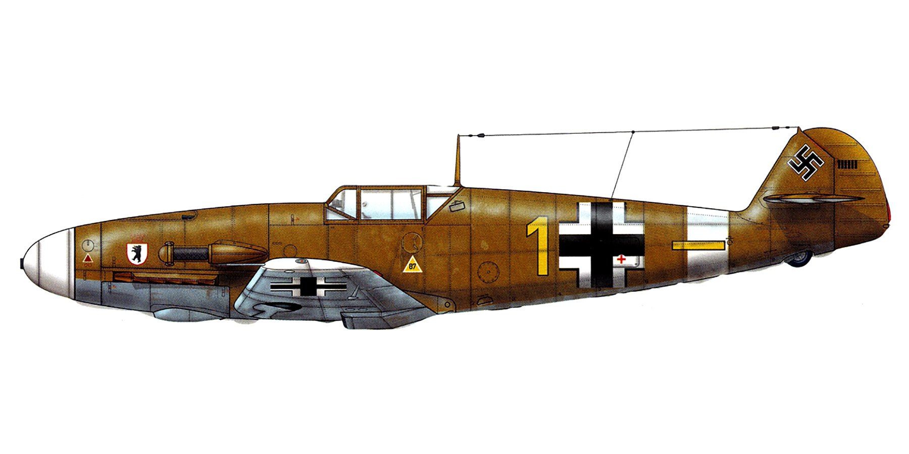 Messerschmitt Bf 109F4Trop 6.JG27 Yellow 1 Rudolf Rudi Sinner Tmimi Jun 1942 0C