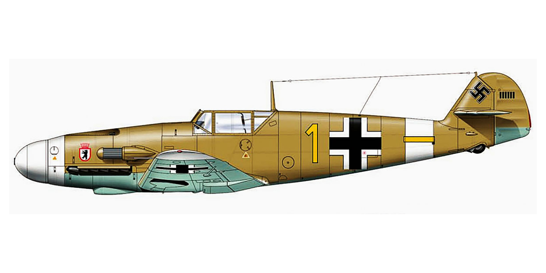 Messerschmitt Bf 109F4Trop 6.JG27 Yellow 1 Rudolf Rudi Sinner Tmimi Jun 1942 0D