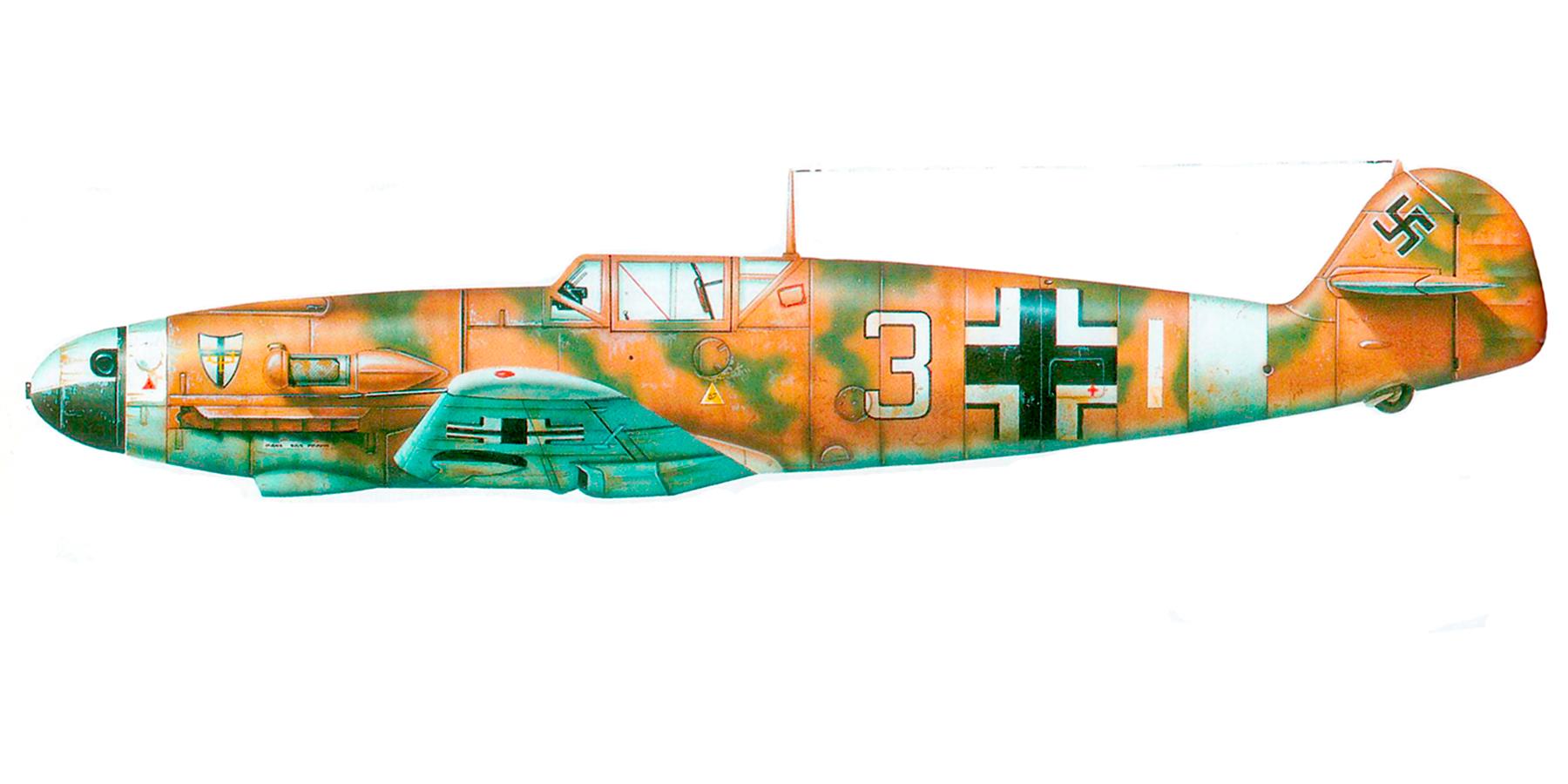 Messerschmitt Bf 109F4Trop 7.JG27 Whie 3 North Africa 1942 0A