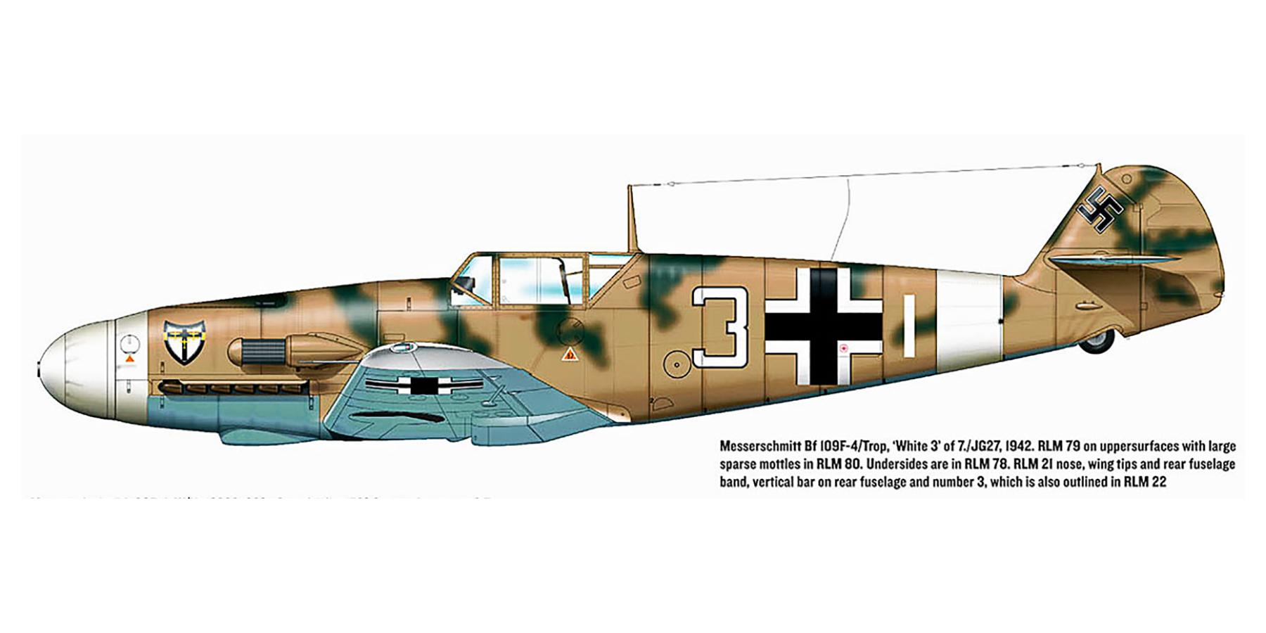 Messerschmitt Bf 109F4Trop 7.JG27 Whie 3 North Africa 1942 0B