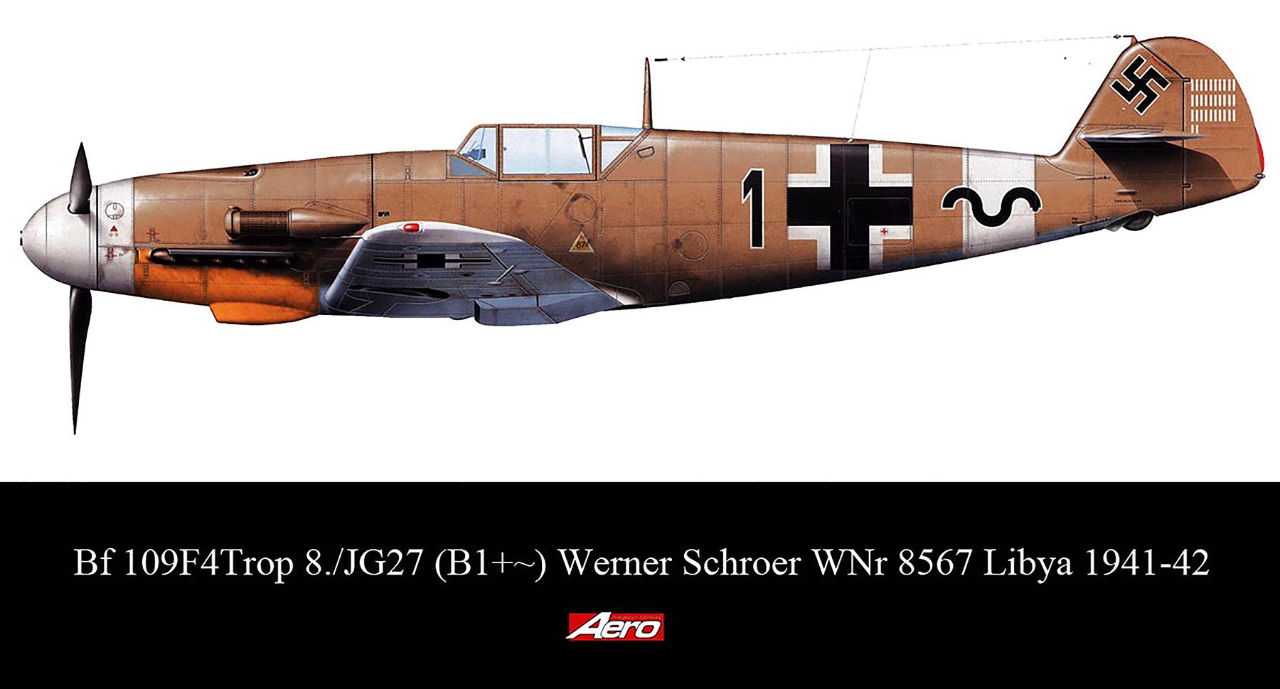 Messerschmitt Bf 109F4Trop 8.JG27 Black 1 Werner Schroer WNr 8567 Libya 1941 42 0A