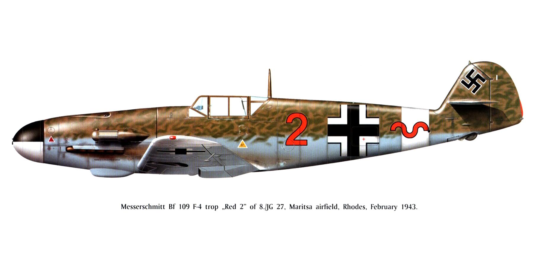 Messerschmitt Bf 109F4Trop 8.JG27 Red 2 Gadurra AF Rhodes Greece Feb 1943 0B