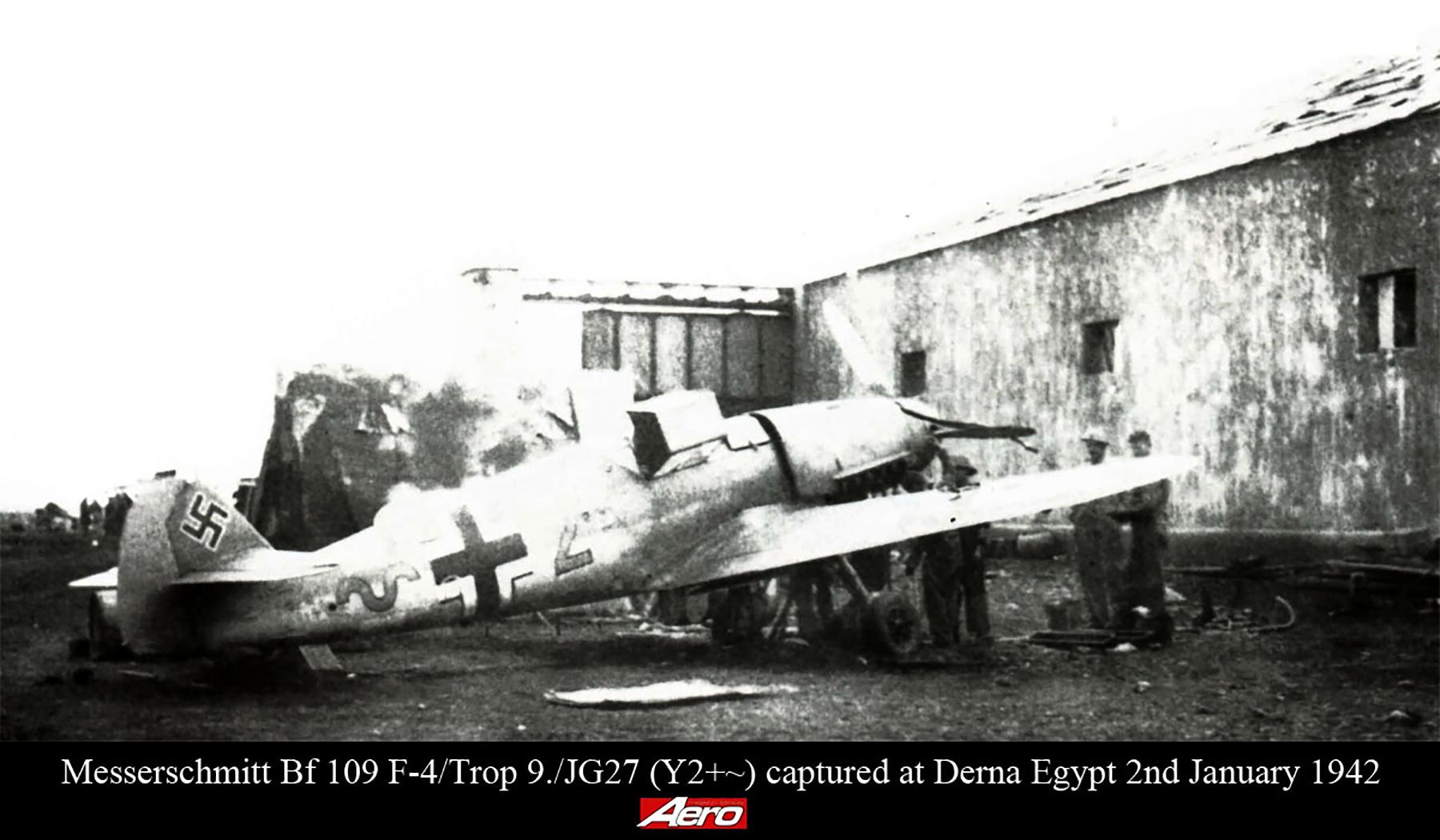 Messerschmitt Bf 109F4Trop 9.JG27 Yellow 2 captured at Derna Egypt 1942 01