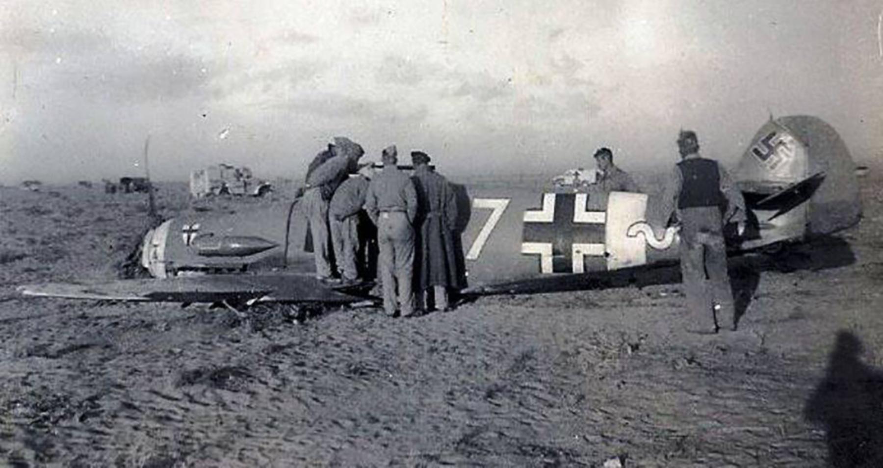 Messerschmitt Bf 109F4Trop 9.JG27 Yellow 7 Helmuth Fenzl WNr 13136 crash Egypt 26th Oct 1942 03