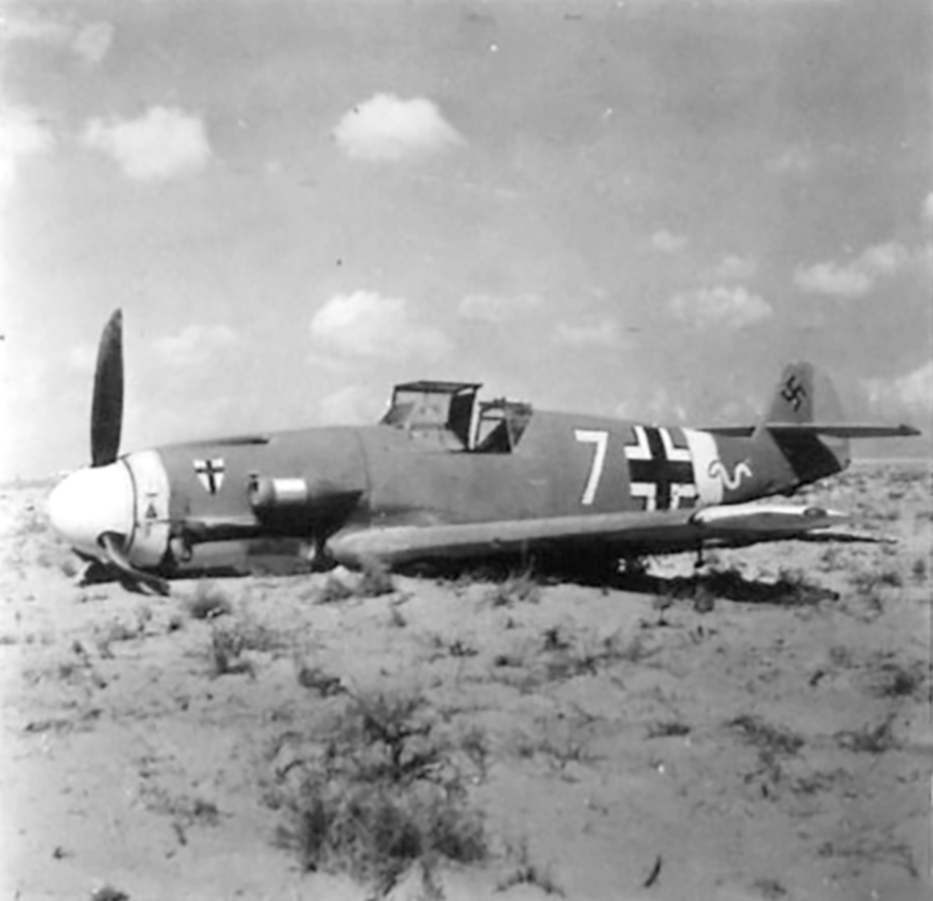 Messerschmitt Bf 109F4Trop 9.JG27 Yellow 7 Helmuth Fenzl WNr 13136 crash Egypt 26th Oct 1942 05