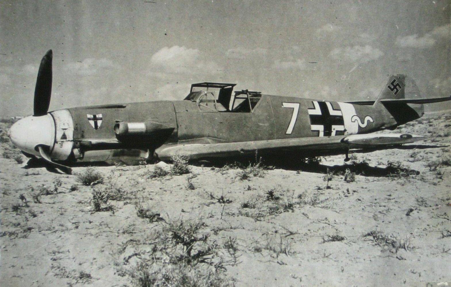 Messerschmitt Bf 109F4Trop 9.JG27 Yellow 7 Helmuth Fenzl WNr 13136 crash Egypt 26th Oct 1942 ebay1